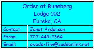 International Order of Runeberg, Lodge 102, Eureka, CA