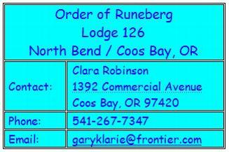 International Order of Runeberg, Lodge 126, North Bend & Coos Bay, OR