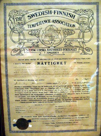 North Star Temperance Society Certificate - 1899